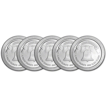 FIVE (5) 1 oz. Silver Round - A-Mark Liberty Bell Stackable .999