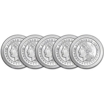 FIVE (5) 1 oz. Silver Round - A-Mark Morgan Stackable .999 AMARK