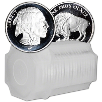 1 oz Silver Round - Asahi Refining Buffalo Design .999 Fine Lot Roll Tube of 20