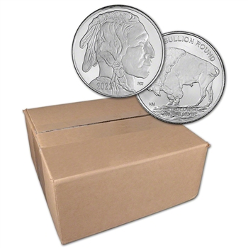 1 oz. Highland Mint Silver Round 2021 Buffalo .999 Sealed Box of 500