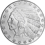 1 oz. Highland Mint Silver Round - Incuse Indian Design .999 Fine