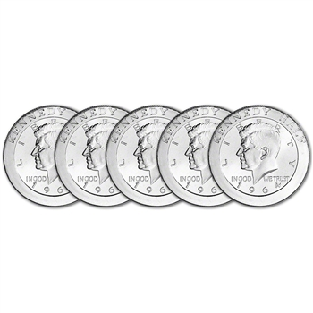 FIVE (5) 1 oz. Highland Mint Silver Round - Kennedy Half Dollar .999+ Fine