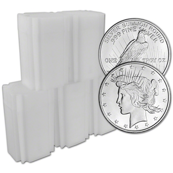100 pc 1 oz. Highland Mint Silver Round Peace Dollar Design .999 5 Tubes of 20