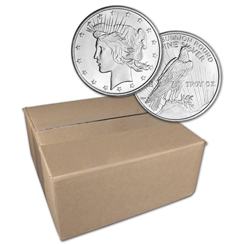 1 oz. Highland Mint Silver Round Peace Dollar Design .999 Sealed Box of 500