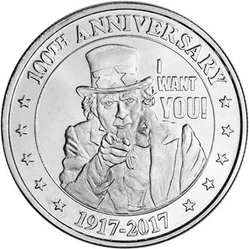 1 oz. Highland Mint Silver Round - Uncle Sam Design .999+ Fine