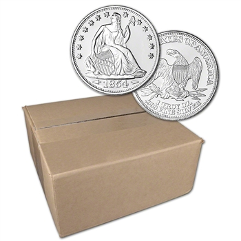 1 oz. Highland Mint Silver Round Seated Liberty .999 Sealed Box of 500
