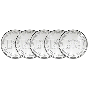FIVE (5) 1 oz. Silver Round - RMC - Republic Metals Corp .999 Fine