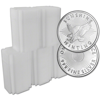 100-pc. 1 oz. Silver Round - Sunshine Minting - .999 (Lot, Rolls, 5 Tubes of 20)