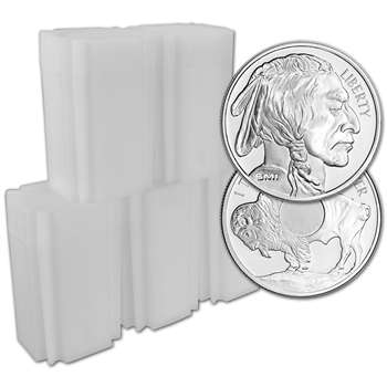 100-pc. 1 oz. Silver Round - Sunshine Buffalo - .999 (Lot, Rolls, 5 Tubes of 20)