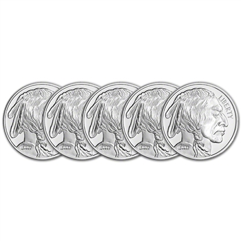 FIVE (5) 1 oz. Silver Round - Sunshine Buffalo - .999 Fine