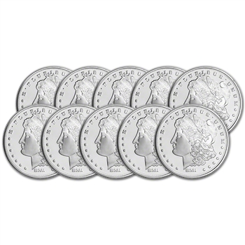 TEN (10) 1 oz. Silver Round - Sunshine Morgan - .999 Fine