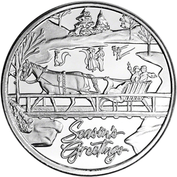 1 oz. Silver Round - SilverTowne - Season's Greetings Christmas Sleigh .999 Fine