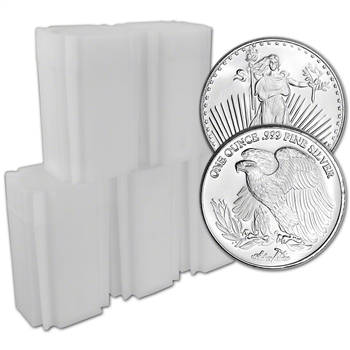 100-pc. 1 oz. Silvertowne Silver Round Saint-Gaudens Design .999 (5 Tubes of 20)