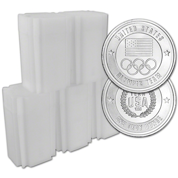 100-pc 1 oz Silver Round US Olympic Committee Team USA 999 Fine (5 Tubes of 20)