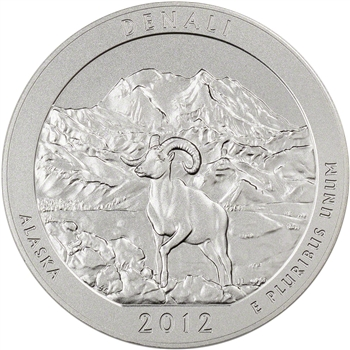 2012-P US America the Beautiful Five Ounce Silver Uncirculated Coin - Denali