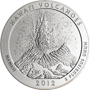 2012-P US America the Beautiful Five Ounce Silver Uncirculated Coin - Volcano