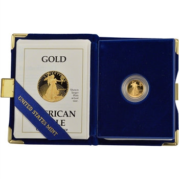 1989-P American Gold Eagle Proof (1/10 oz) $5 in OGP
