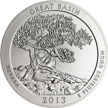 2013-P US America the Beautiful Five Ounce Silver Uncirculated Coin Great Basin