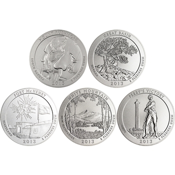 5-pc. 2013-P US America the Beautiful 5 oz. Silver Uncirculated Coin Set