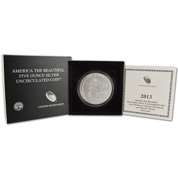 2013-P US America the Beautiful Five Ounce Silver Uncirculated Coin Fort McHenry