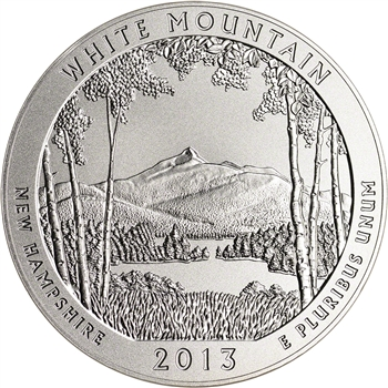 2013-P US America the Beautiful Five Ounce Silver Uncirculated White Mountain