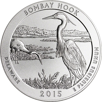 2015-P US America the Beautiful Five Ounce Silver Uncirculated Coin Bombay Hook