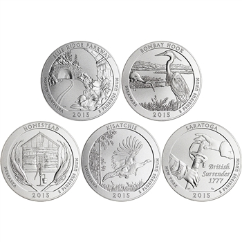 5-pc. 2015-P US America the Beautiful 5 oz. Silver Uncirculated Coin Set