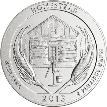 2015-P US America the Beautiful Five Ounce Silver Uncirculated Coin Homestead
