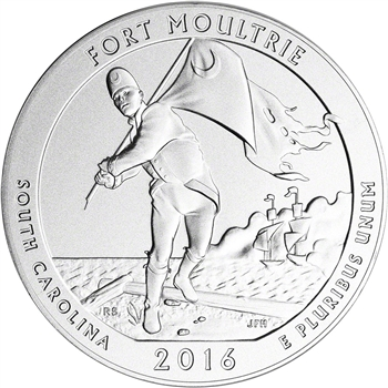 2016-P US America the Beautiful Five Ounce Silver Uncirculated Fort Moultrie