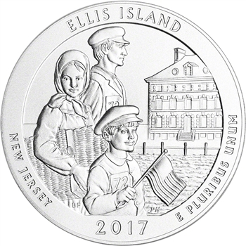 2017-P US America the Beautiful Five Ounce Silver Uncirculated Ellis Island