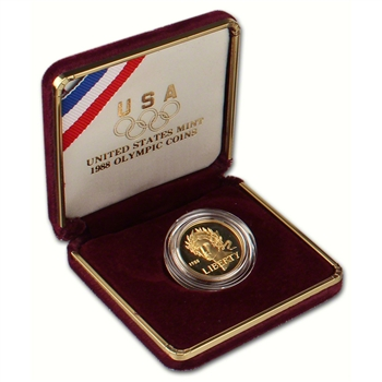 1988-W US Gold $5 Olympic Commemorative Proof