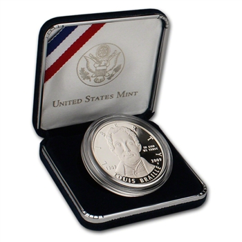 2009-P US Louis Braille Bicentennial Commemorative Proof Silver Dollar