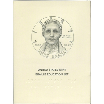2009 US Louis Braille Commemorative BU Silver Dollar Education Set
