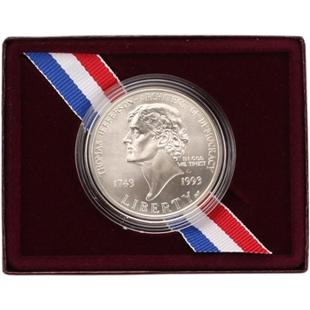 1993-P US Thomas Jefferson 250th Anniversary Commemorative BU Silver Dollar