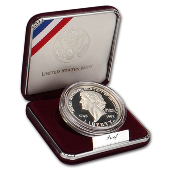 1993-S US Thomas Jefferson 250th Anniversary Commemorative Proof Silver Dollar