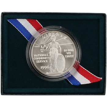 1996-S US National Community Service Commemorative BU Silver Dollar