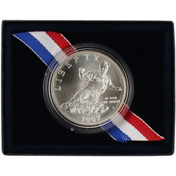 1997-S US Jackie Robinson 50th Anniversary Commemorative BU Silver Dollar