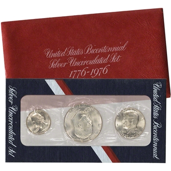 1976 US Mint Silver 3-pc Bicentennial Unc Coin Set