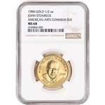 1984 US Gold (1/2 oz) American Arts Commem Medal - John Steinbeck - NGC MS68