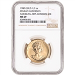 1980 US Gold 1/2 oz American Commemorative Arts Medal Marian Anderson - NGC MS69