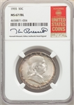 1955 US Silver 50C Franklin Half Dollar - NGC MS67 FBL