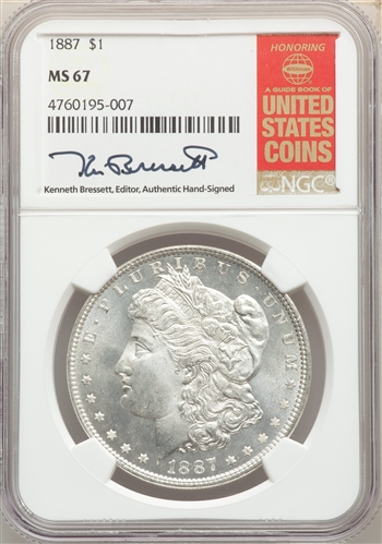 1887 US Morgan Silver Dollar $1 - NGC MS67
