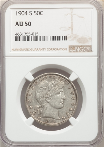 1904-S US Silver 50C Barber Half Dollar - NGC AU50