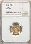 1842 US Gold $2.50 Liberty Head Quarter Eagle - NGC AU58