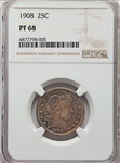 1908 US Silver 25C Barber Quarter Proof - NGC PF68