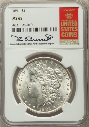 1891 US Morgan Silver Dollar $1 - NGC MS65
