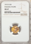 1915-S US Gold $1 Panama Pacific Exposition - NGC MS67