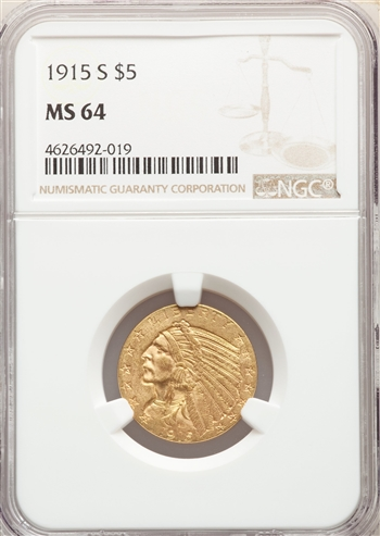 1915-S US Gold $5 Indian Head Half Eagle - NGC MS64