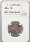 1916 US Silver 25C Standing Liberty Quarter - NGC MS66 FH