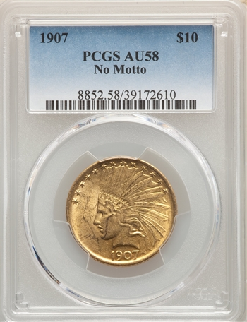 1907 US Gold $10 Indian Head Eagle - No Motto - PCGS AU58